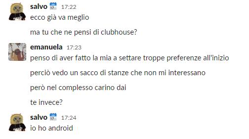 Screenshot da chat
