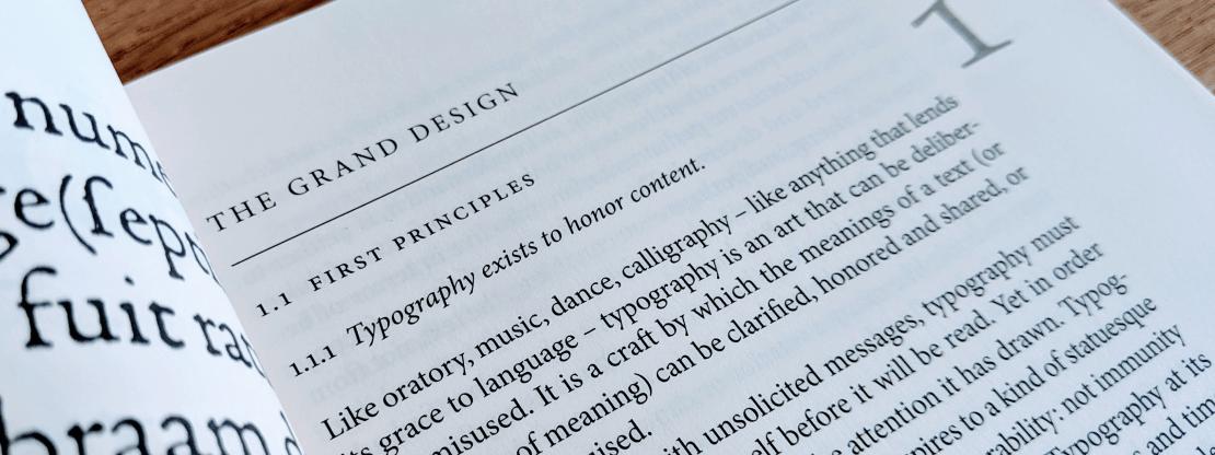 Foto di una pagina di The Elements of Typographic Style di Robert Bringhurst